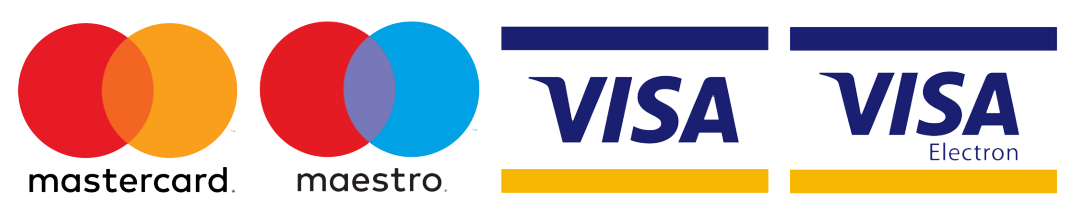 Accepted Payment Methods - Mastercard, Mastero, Visa, Visa Electron